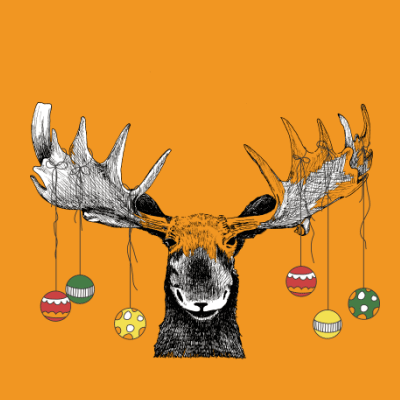 Moose with Ornaments