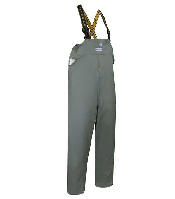 PVC RAIN BIB PANTS WITH DOUBLE PANEL. REVERSIBLE