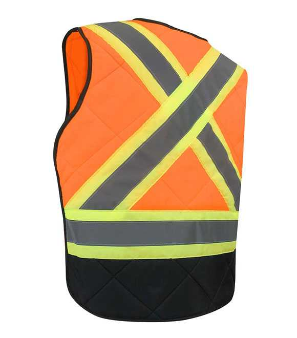 QUILTED NYLON FREEZER VEST WITH REFLECTIVE STRIPES