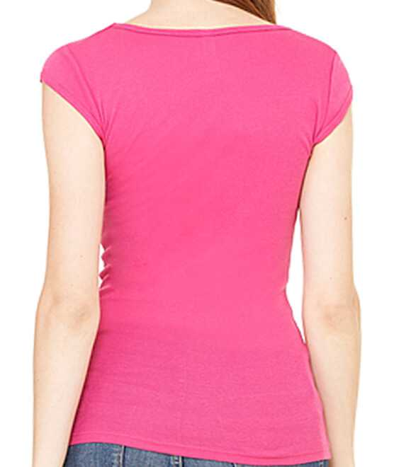 LADIES SHEER MINI RIB CAP V-NECK TEE