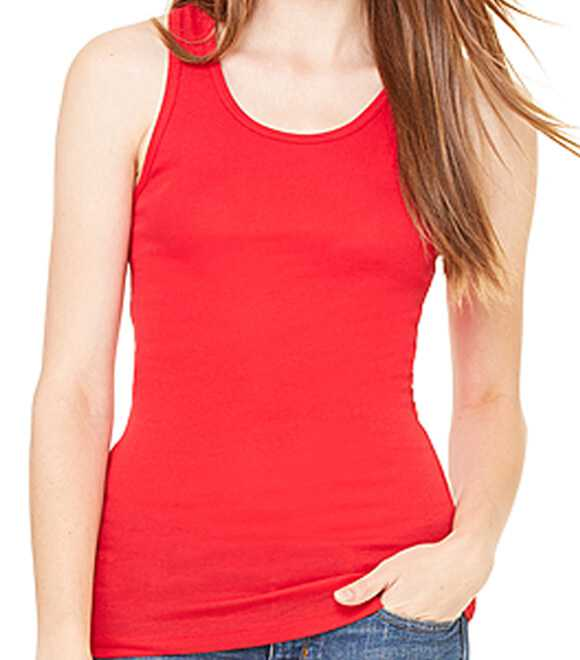 LADIES SHEER MINI RIB RACERBACK TANK TOP