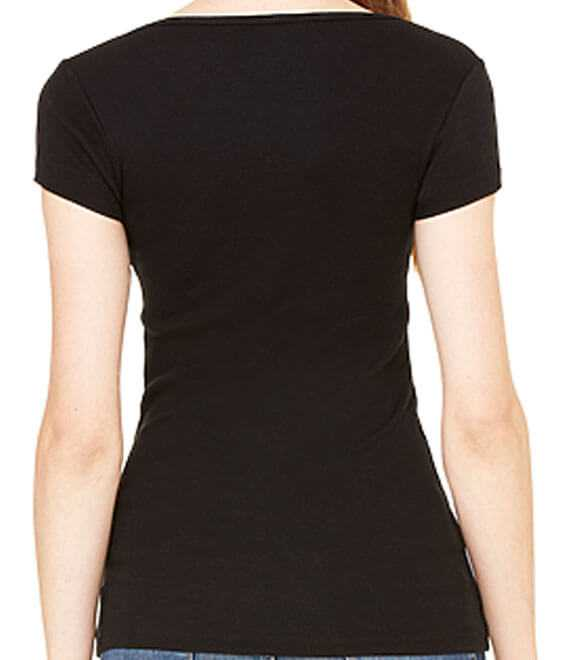 LADIES SHEER MINI RIB S by S SCOOP NECK TEE