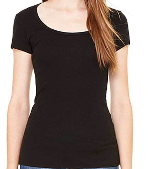 LADIES SHEER MINI RIB S par T-SHIRT COLLIER
