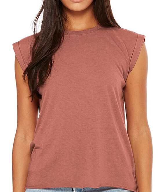 LADIES FLOWY MUSCLE TEE WITH ROLLED CUFF
