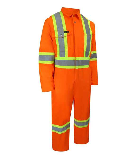 ORANGE UNLINED COVERALL WITH ZIPPER ON THE LEG. TA