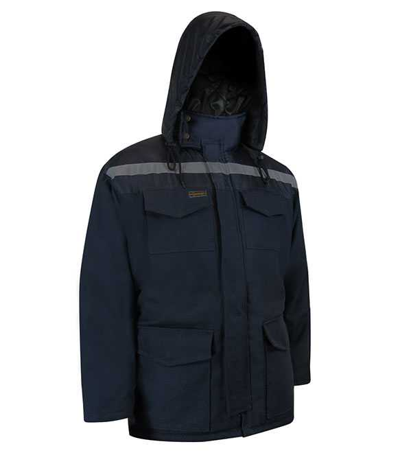QUILTED DUCK COTTON PARKA WITH NYLON SHOULDERS