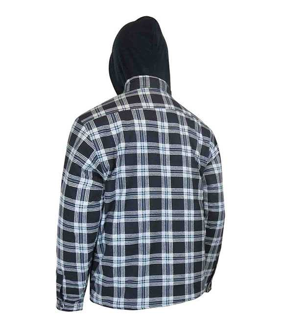QUILTED FLANNEL SHIRT WITH HOOD AND RUSTPROOF SNAP
