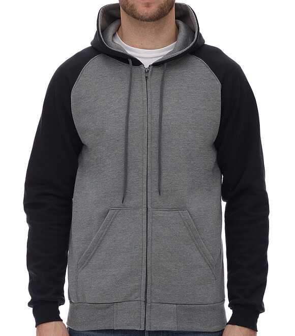 RAGLAN HOODED FLEECE WITH FULL ZIP