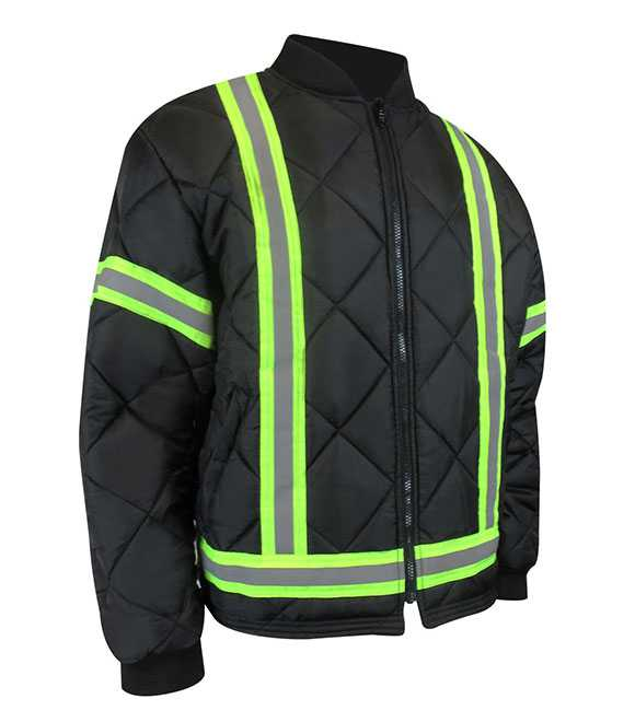 QUILTED FLEECE LINED JACKET WITH REFLECTIVE STRIPE